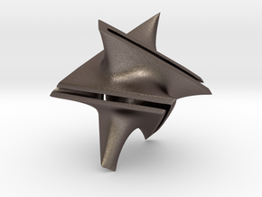 Star Minimal Surface Pendant in Polished Bronzed-Silver Steel: Small