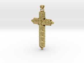 Vikings ragnar/athelstan cross in Natural Brass (Interlocking Parts)
