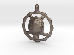TURTLE TOTEM Jewelry Symbol Pendant in Polished Bronzed Silver Steel