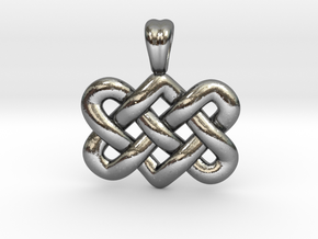 Entwined hearts [pendant] in Polished Silver