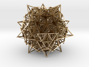 Icosahedron w/ 20 Stellated Octahedrons in Polished Gold Steel