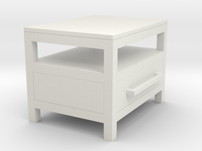 1:12 Miniature Industrial-style Bedside Table in White Natural Versatile Plastic
