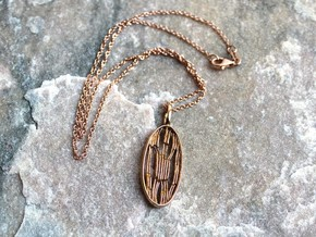 Chloroplast Pendant - Science Jewelry in Polished Bronze
