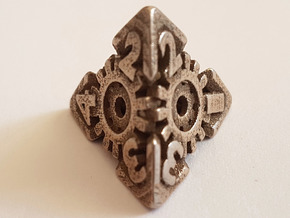 Steampunk D4 hollow in Polished Bronzed-Silver Steel: d4