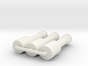 1:6 Miniature High Explosive Stick Hand Grenade in White Natural Versatile Plastic