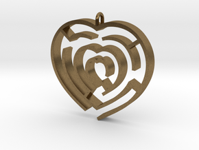 Heart maze pendant in Natural Bronze