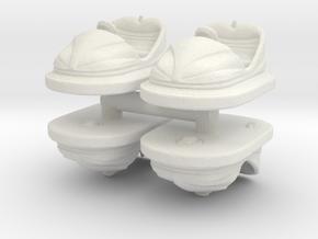 Bumper Car (x4) 1/100 in White Natural Versatile Plastic