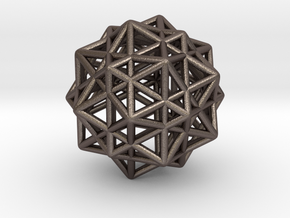 Star Faced Dodecahedron (Steel) in Polished Bronzed-Silver Steel