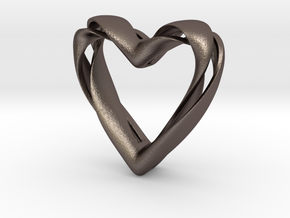 Twisted Heart pendant in Polished Bronzed Silver Steel