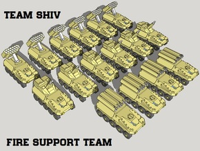 """Team Shiv"" 3mm Wheeled Fire Support Team (16pcs) in Smooth Fine Detail Plastic"