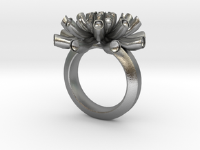 Sea Anemone ring 17mm in Natural Silver