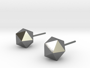 Icosahedron Earrings in Polished Silver