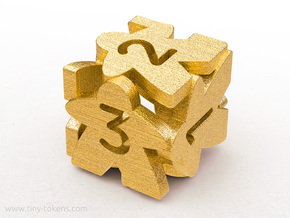 Meeple D6 dice numbered 1-3 in Polished Gold Steel