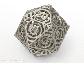 Vertigo - Balanced D20 RPG die (twenty sided gamin in Polished Bronzed-Silver Steel