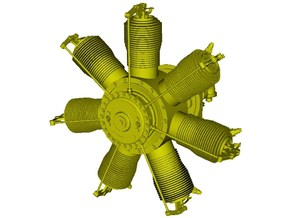 1/24 scale Gnome 7 Omega rotary engine x 1 in Smooth Fine Detail Plastic