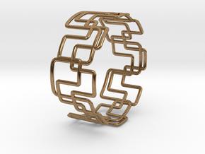 Modern Graphics Bracelet  in Natural Brass
