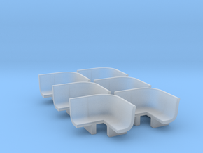 6pcs: N Scale Bench - Inside Radius in Smooth Fine Detail Plastic
