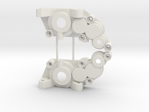 B1M RC10 4-gear laydown transmission case in White Natural Versatile Plastic