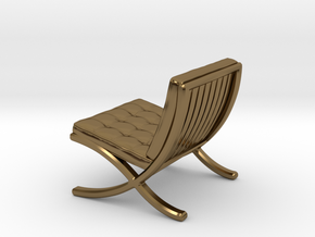 "Mies-Van-Barcelona-Chair - 1/2"" Model in Polished Bronze"