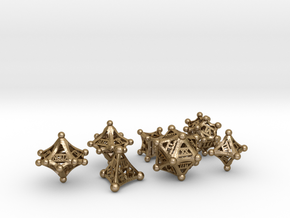 Roman polyhedral set with decader in Polished Gold Steel