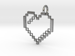 Gold heart pendant geek video game jewelry pixl by in Natural Silver