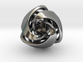 Twisted Geometric Pendant - Tetra in Antique Silver: Small