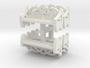Park Bench (x4) 1/76 in White Natural Versatile Plastic