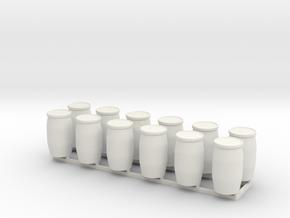 28mm Blue Barrels 10pc in White Natural Versatile Plastic