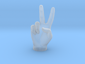 Victory sign l hand in Smooth Fine Detail Plastic: Extra Small