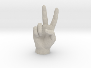 Victory sign l hand in Natural Sandstone: Extra Small