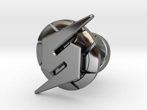 Metroid Symbol Cufflink in Fine Detail Polished Silver
