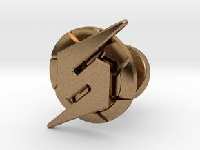 Metroid Symbol Cufflink in Natural Brass