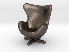 Fh Egg Blackleather-03-small in Polished Bronzed Silver Steel