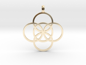 FIVE FOLD Symbol Jewelry Pendant in 14K Yellow Gold