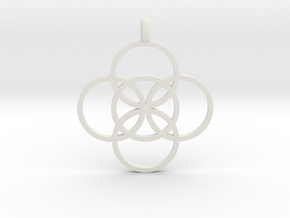 FIVE FOLD Symbol Jewelry Pendant in White Natural Versatile Plastic