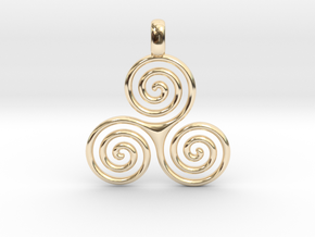 TRIPLE SPIRAL Minimal Symbol Jewelry Pendant  in 14K Yellow Gold