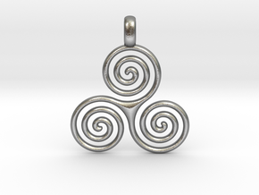 TRIPLE SPIRAL Minimal Symbol Jewelry Pendant  in Natural Silver