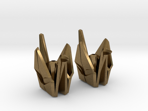 Origami Crane Bead Earrings in Natural Bronze
