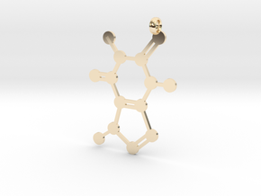 Caffeine molecule charm in 14K Yellow Gold