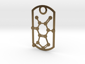 Dog tag - caffeine molecule in Natural Bronze