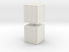 Large Shipping Crate (x2) 1/160 in White Natural Versatile Plastic
