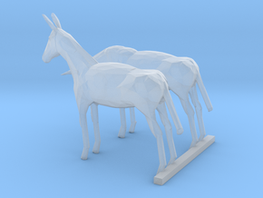 HO Scale Mules in Smooth Fine Detail Plastic