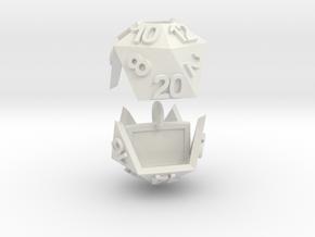 D20 Necklace in White Natural Versatile Plastic
