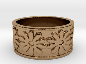 18 Daisy Solid V4 Ring Size 7.5 in Polished Brass