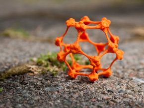 Organic Geometric Fractal Lifeform Pendant in Orange Processed Versatile Plastic