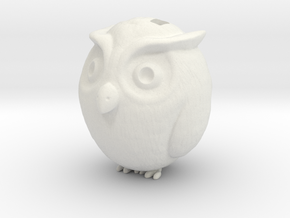 Owl charm in White Natural Versatile Plastic: Medium