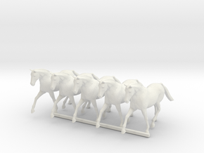 S Scale Trotting Horses in White Natural Versatile Plastic