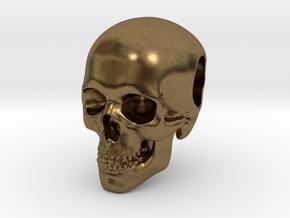 Human Skull Pendant in Natural Bronze