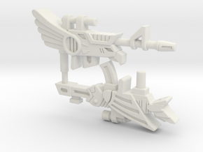 Battle Beast Eagle and Fish Guns (3mm, 4mm, 5mm) in White Natural Versatile Plastic: Small