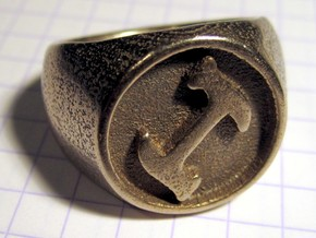 Stonecutter Ring (Size 13.5) in Polished Bronzed Silver Steel